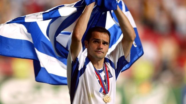 Mihalis Kapsis basks in the glory of Greece's surprise Euro 2004 success