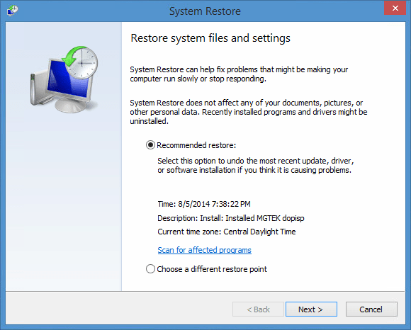 Image of System Restore