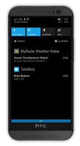 A Windows phone action center displays an thunderstorm watch alert from MyRadar