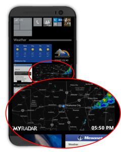 Windows phone Start screen with pinned live tile showing recent radar data