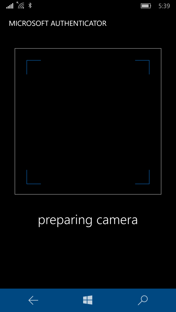 Authenticator app unable to prepare the camera.