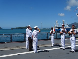 RAdm Lebas visits FS Surcouf with Seychellois dignitaries while the ship is in port in the Seychelles