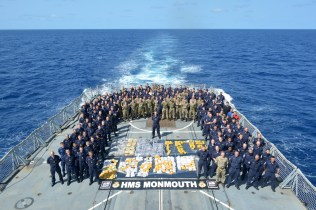 The crew of HMS Monmouth with 265 kg of heroin and 455 kg of hasish
