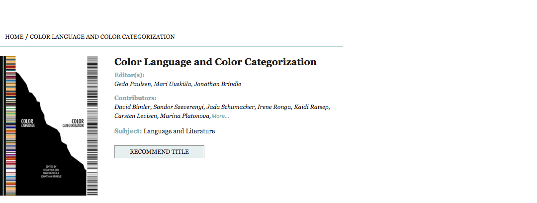 "Book: ""Color Language and Color Categorization"""