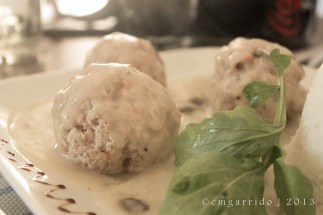Königsberger Klopse (steamed meat balls)... in white wine sauce with kapers.