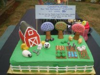 Farmville Themed Cake - For my brother-in-law's 50th birthday. You can see a few special additions like canes, pill bottles and little blue pills (Viagra).
