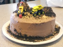 My nephew's second excavator cake - this was supposed to be a joke. My brother asked me at the last minute to make a cake so I told him this was all I could come up with before I brought in the actual excavator cake.