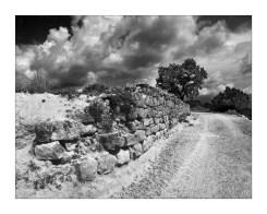 Stone retaining wall at Adahuesca