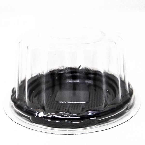 Small Black Cake Tray With Transparent Lid for Individual Cakes and Desserts