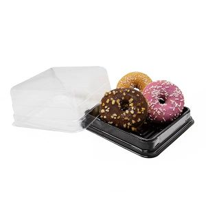 Small Square To Go Catering Container With Donuts
