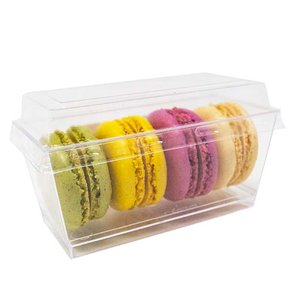 Solid Plastic Transparent Macaron Container With Lid 4 Pack