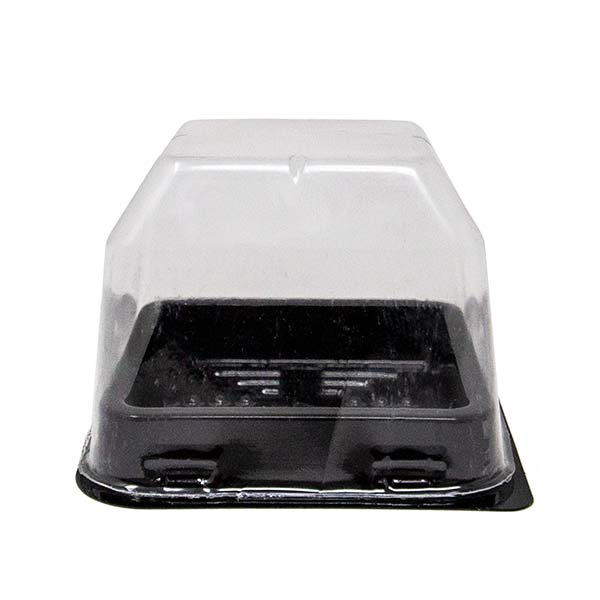 Tiny Black Tray With Transparent Lid for One Bite Foods