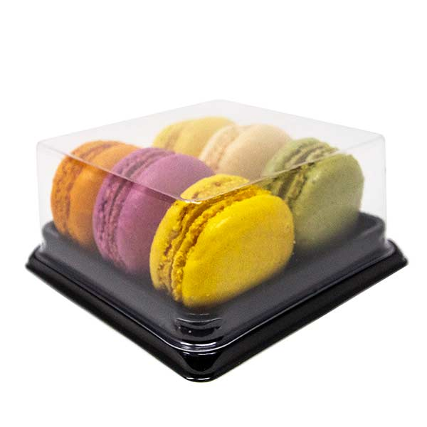 Six Macarons To Go Box With Clear Lid