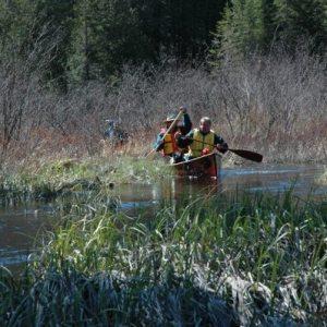 Canoe scraping through shallow river