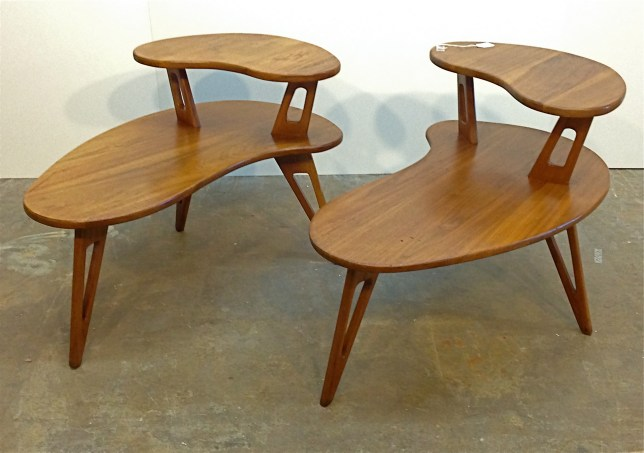 """Custom two-tier end tables, made in the style of Pearsall, in solid walnut, 32"""" x 22"""" x 22.5""""."""