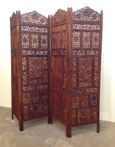 "4-panel teak screen, hand carved, bronze hinges. BOHO style. 86""W x 73""H x 1""D."