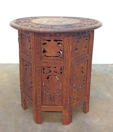 Inlaid teak side table