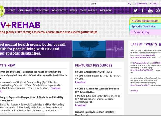 Screen capture of Canadian Working Group on HIV and Rehabilitation website