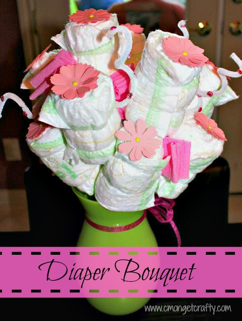 Martha stewart baby shower for Pink diaper bouquet