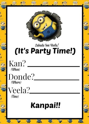 Minions Printable Invitation