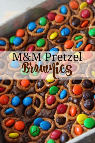 M&M Pretzel Brownies