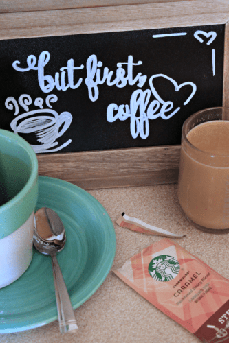 This chalkboard coffee sign is SO EASY to make! Printable included in the post so you can make your own today!