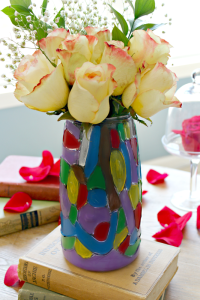 When I found this vase at the thrift store, I knew it needed to become a stained glass vase in honor of Beauty and the Beast! #MovieMonday