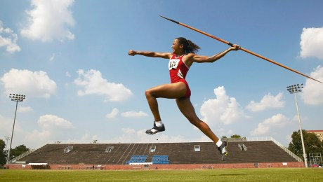 Javelin Thrower in Action at a Competition