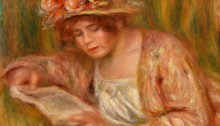 Andrée in a Hat, Reading, by Pierre-Auguste Renoir
