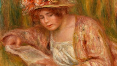Andrée in a Hat, Reading, by Pierre-Auguste Renoir