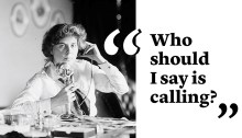 Genevieve Clark on the telephone