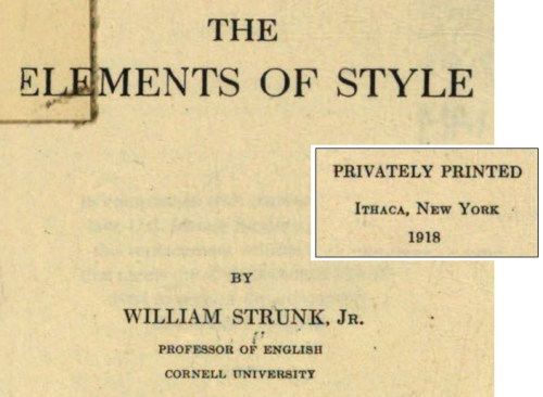 Title page, Elements of Style, 1918