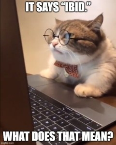 "Cat wearing glasses and staring into screen: ""It says 'ibid.' What does that mean?"""