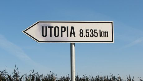 Road sign pointing to Utopia