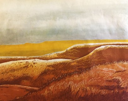"""Flint Hills - Noon"" - Relief Print and Watercolor - $100"