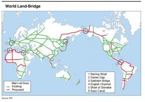 "MAIN LINES OF WORLDWIDE RAIL NETWORK-A GLOBAL LANDBRIDGE Proposed by Mrs. Helga Zepp LaRouche in the EIR Special Report: ""The Eurasian Land-Bridge; The New 'Silk Road'-locomotive for worldwide economic development."" (January 1997)"