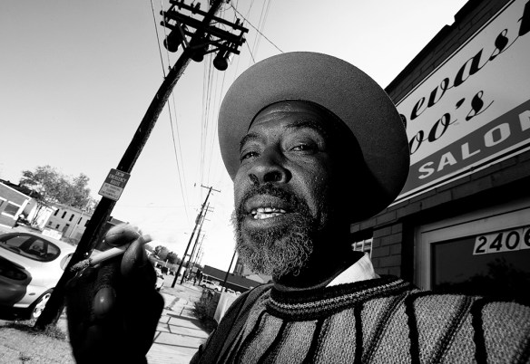 FIRST PLACE: Mark Samala , California State University - Fullerton — Esmond Davis, 62, waits outside of a salon and barbershop in the Portland area of Louisville, Ky, Friday, Oct. 29, 2010. Davis routinely visits his group of friends on Market Dr. and 29th Ave every morning prior to going to his shift in a factory.