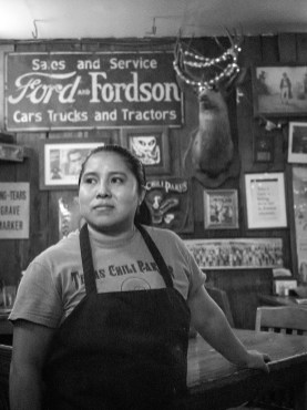 Yunuen Bonaparte. California State University Fullerton (Jeffrey Brody, adviser) Busser at the Chilli Parlor. Alberta Sanic Catel cleans tables at the Texas Chilli Parlor in Austin, Oct. 30. She's been working at the parlor for two months now and believes this is the most authentic Tex-Mex restaurant in the area.
