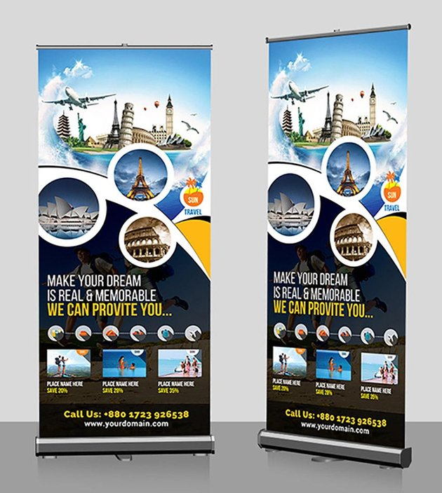Quickly and easily access banner templates for our most popular pop up banner models! 22 Creative Roll Up Banner Designs Templates To Download Now