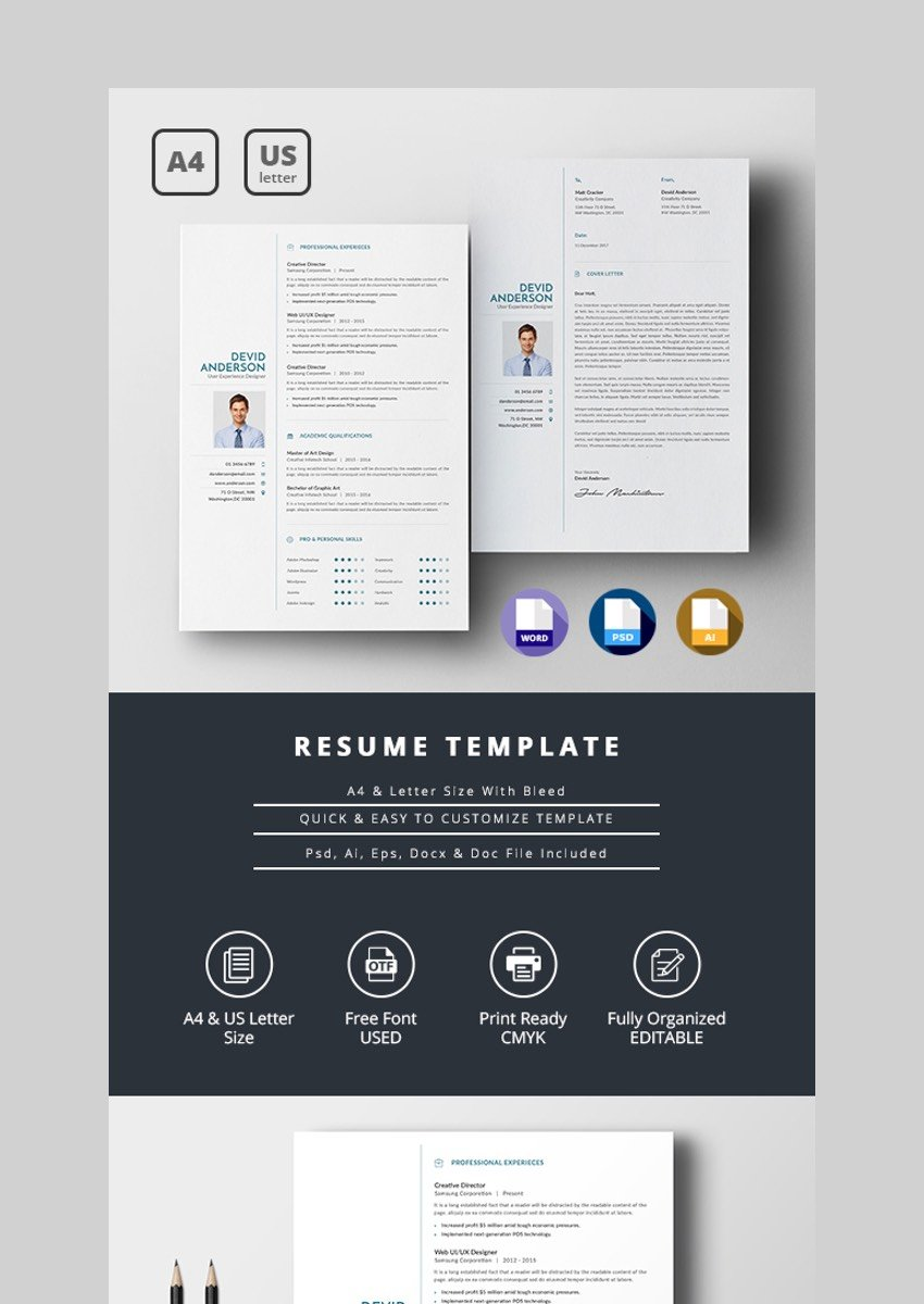 This professional template for resumes and cover letters is neat and tidy, but it can get long—i suggest using this one when you have a resume with little work experience. 30 Simple Resume Cv Templates Easily Customizable Editable For 2020