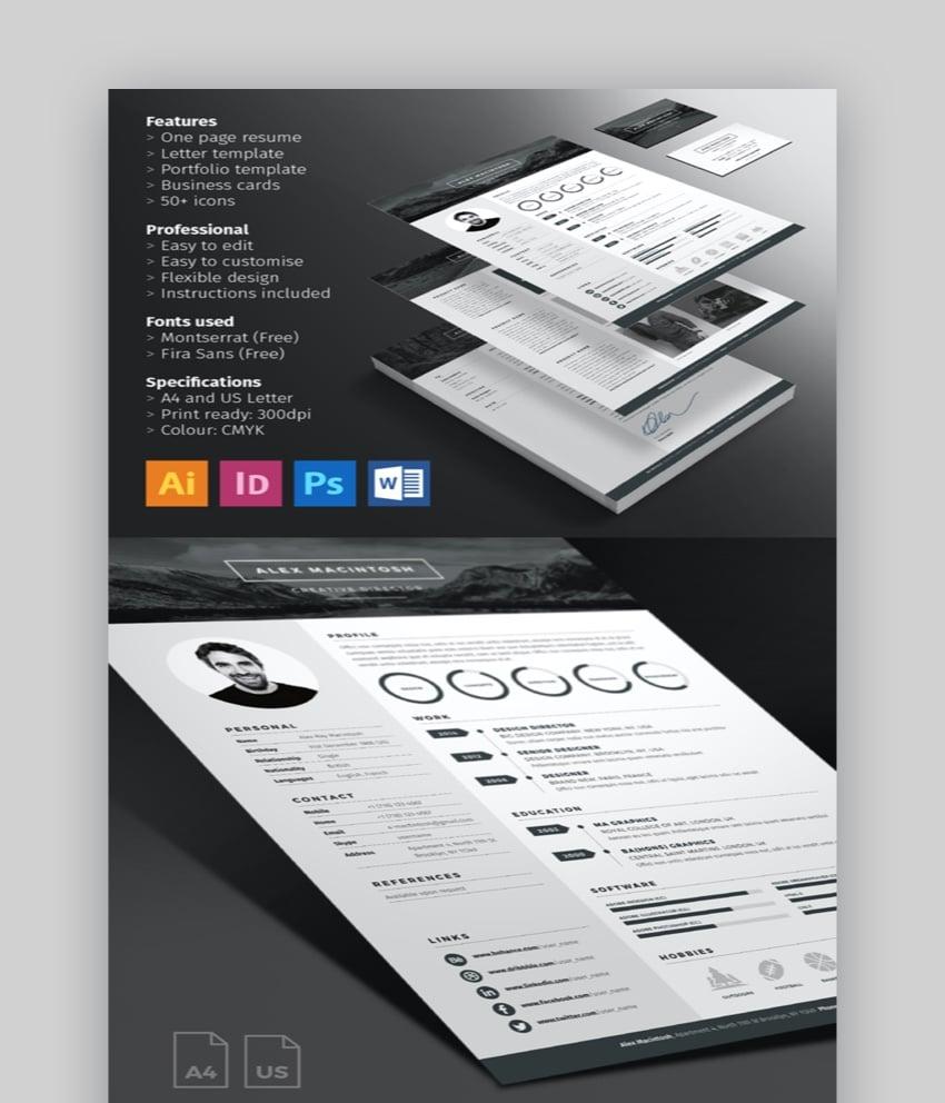 Responsive html template based on bootstrap. 30 Illustrator Ai Resume Templates Creative Cv Designs 2021
