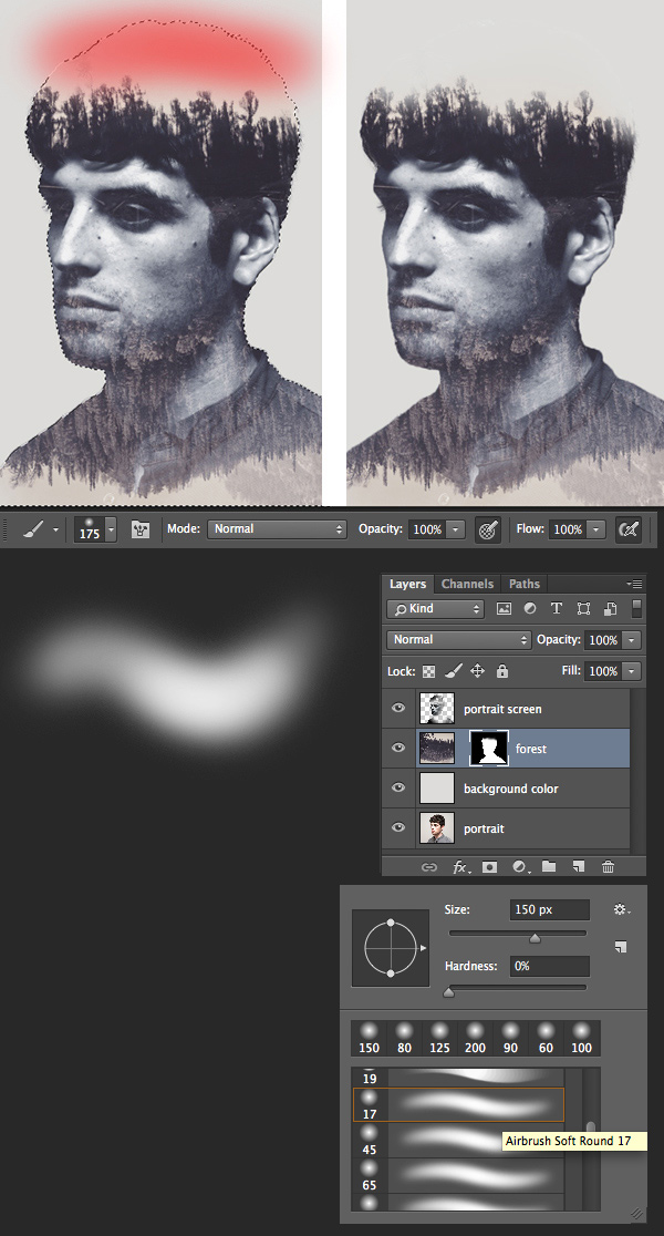 edit the top of the head with the brush tool