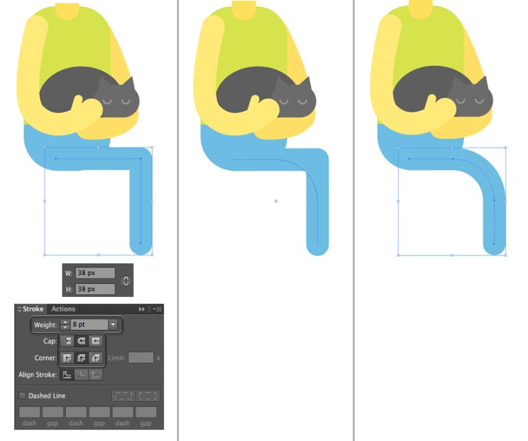 make legs from strokes with the pen tool