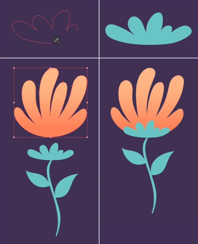 combine the elements of the flower