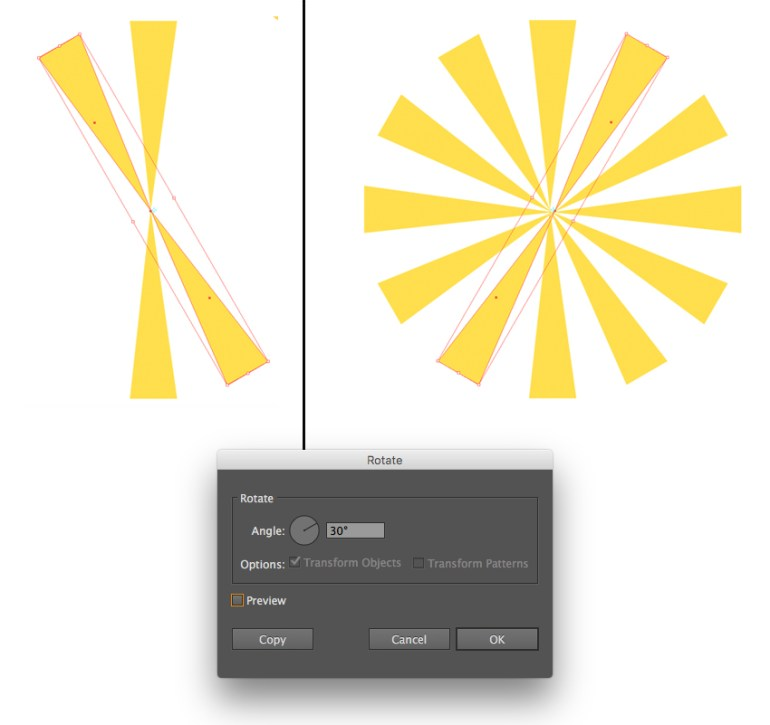 Use the Rotate Tool to create rotated copies