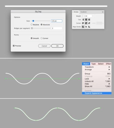 make a smooth zig zag line