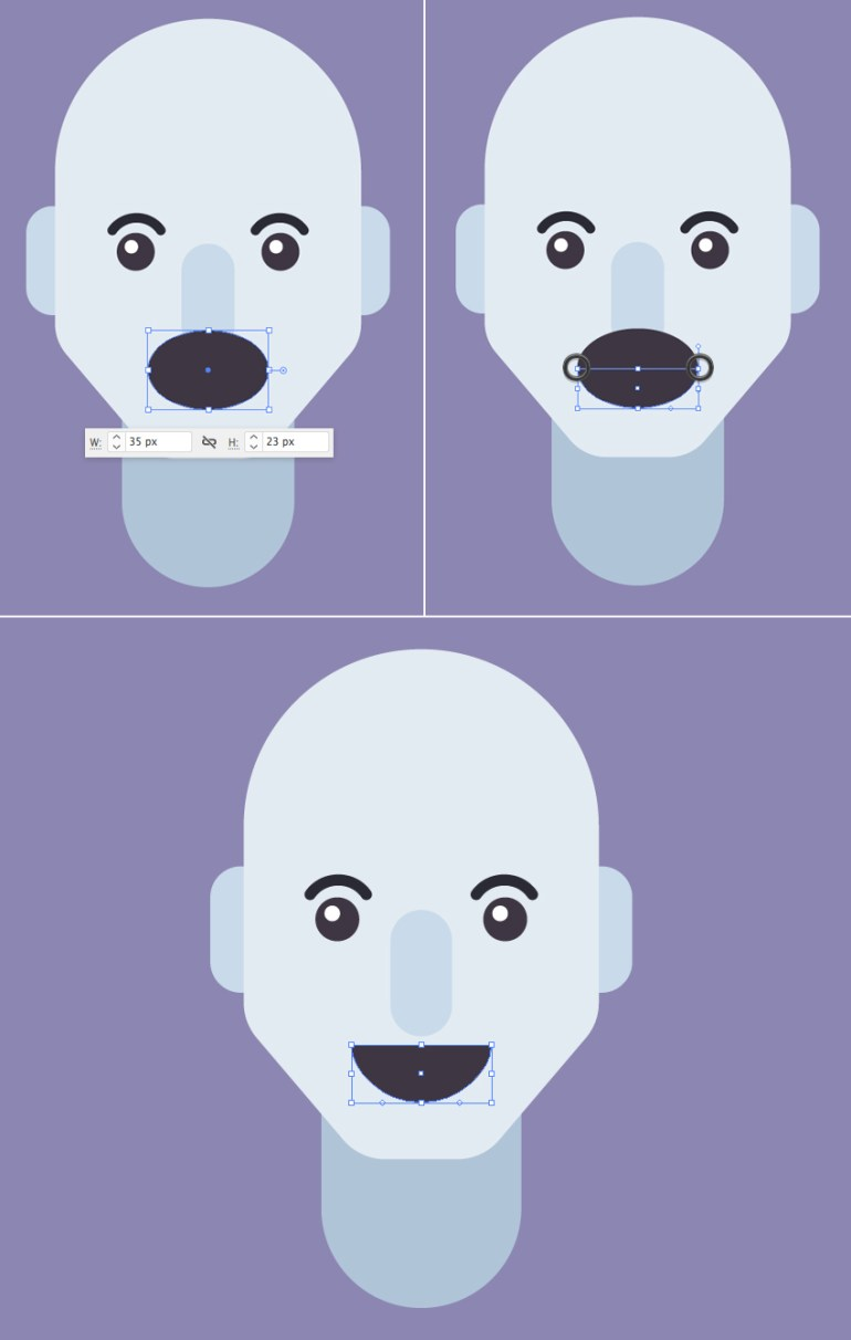 make a mouth from ellipse