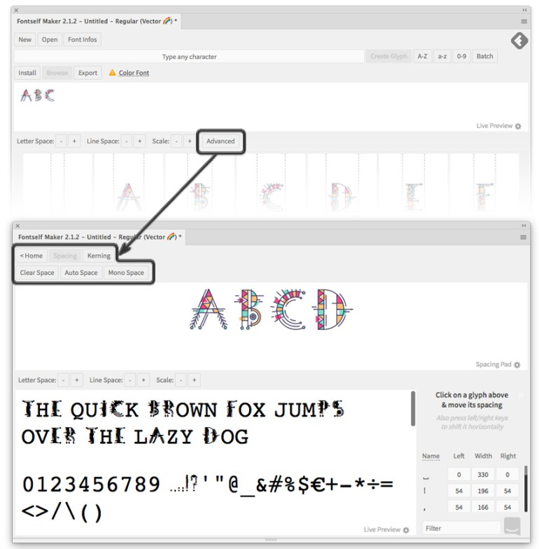 advanced settings of Fontself