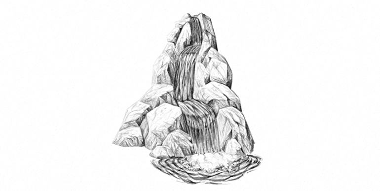 how to draw a realistic waterfall with pencils