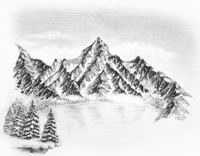 Mountain Range Realistic Drawing